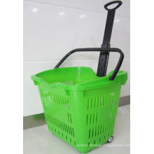 Shop Plastic Two Wheel Rolling Hand Basket