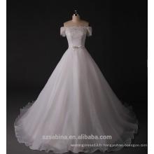 2017 nouvelle conception manches courtes organza arc avec robe de mariée en dentelle
