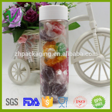 Transparent new style cylinder plastic PET wide mouth jars for candy packing
