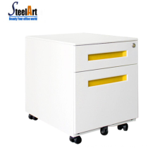 2 Drawer Metal Office Mobile file Cabinet With Recessed Red Handle Metal Mobile Pedestal