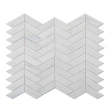 White Chevron Stained Glass Backsplash Mosaic Tile