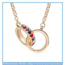Trendy ouro 18k anel de cristal cheio ligado juntos verdadeiro amor série colar de camisola