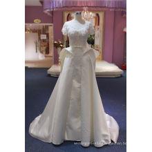 Short Sleeve Satin Ball Bridal Wedding Dress