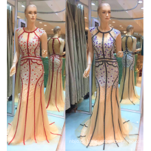 Guangzhou 2017 Einzigartige spezielle Design Streifen Stickerei funkelnden Perlen Meerjungfrau Abendkleider