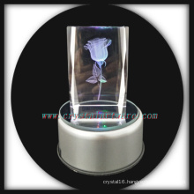 3d Laser Engraving Crystal Rose with Music Rotate Led Base