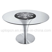 Best-Selling Round Coffee Shop Club Bar Glass Pattern Table (SP-GT108)