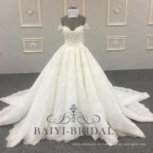 El vestido de boda del último diseño Bling Bling vestido del vestido de novia del diseño del hombro 2018