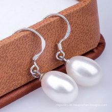925 Silber Haken Frischwasser Perle Tropfen Ohrring