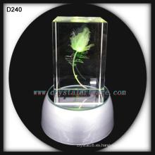 K9 3D Laser Grabado Rose cristalina con base LED