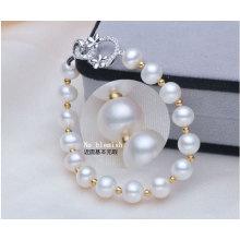 Süßwasser-Zuchtperlen mit runden Perlen Armband (E150027)