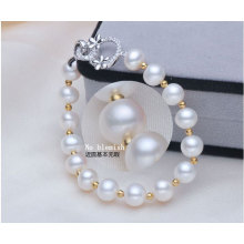 Freshwater Cultured Pearls with Round Beads Bracelet (E150027)