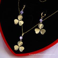 14k ouro banhado afortunado Clover CZ conjunto de jóias de pedra (60743)