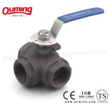 316L Трехходовой шаровой кран с резьбовым торцевым уплотнением из углеродистой стали
