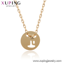 44937 Xuping 18k plaqué or style simple femmes collier de mode