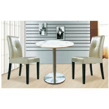 Mesa de comedor redonda de mármol de diseño moderno con sst plinth y juego de silla de madera