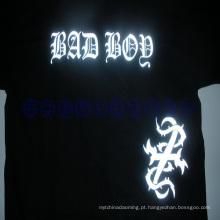 Smal MOQ camiseta reflexivo calor imprensa logotipo adesivos