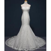 Vestido de boda nupcial de la sirena del cordón sin tirantes por encargo 2017