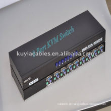 Premium Novo switch KVM de 8 portas para controlar 8 computadores com um monitor, teclado e mouse.