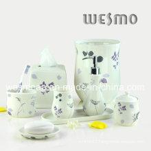 Flower Decal Porcelain Bathroom Set (WBC0708A)