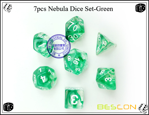7pcs Nebula Dice Set-Green-c