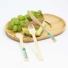 Biodegradable wedding event dinnerware cutlery sets disposable bamboo cutlery knife fork spoon