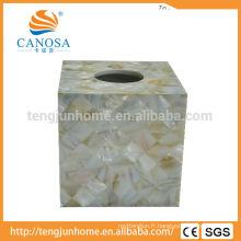 Boîte à tissus de coquillage en eau douce pour bateaux naturels pour hôtels étoilés