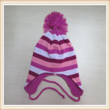 Дети, милые 100% акрил трикотажные наушник шляпа с периферии/кисточкой на вершине