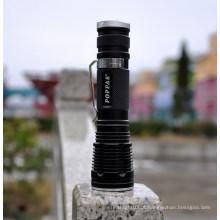 Poppas V8 alumínio 1 * 18650 bateria de lítio 5modes Tocha Mini LED Flash Light