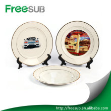 """Ceramic 10"""" double gold rimmed plates"""