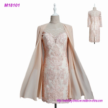 2017 Lace Mother of The Bride Dresses with Chiffon Jacket 3/4 Sleeves Applique Women Formal Evening Party Gowns
