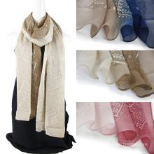 Bordado de bufanda de seda de encargo de emboidery del color de dos tonos con Sequins