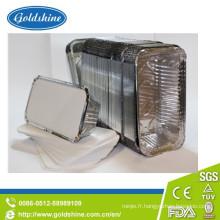 Récipient rectangulaire de nourriture de papier d'aluminium durable avec le couvercle de conseil
