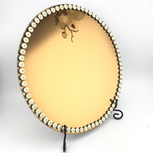 17 Inch Mirror Glass Plate with Dark Brown