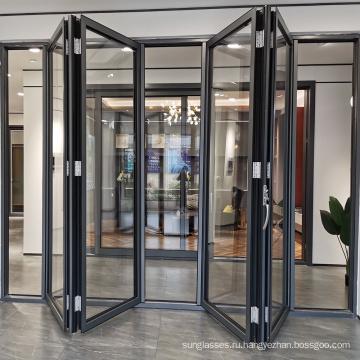 Двойные двойные двери из закаленного стекла из черного алюминия