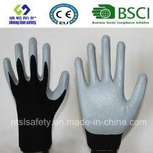 13G Polyester Shell mit Nitril beschichteten Arbeitshandschuhen (SL-N115)