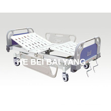 (A-58) -- Movable Double-Function Manual Hospital Bed with ABS Bed Head