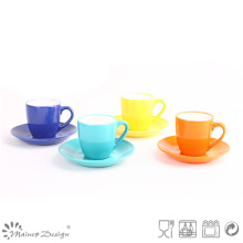 8oz Glazing Colorful Ceramic Cup and Saucer Dishwasher Safe