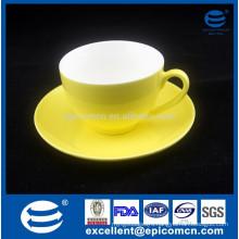 250cc Yellow Color Glazed New Bone China Cup And Saucer tea Set turkish coffee set