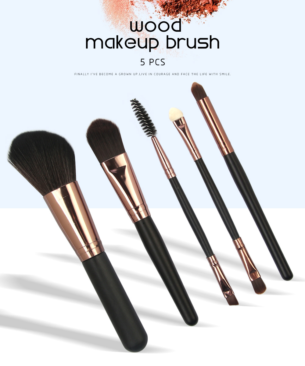 5 Pcs Wood Makeup Brushes Set 1