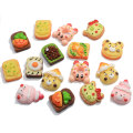 Kawaii Cartoon Tierform Harz Brot Bär Katzenkopf Donut Food Charms für Handy-Dekoration