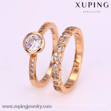 12312-Xuping 18K Yellow gold set engagement ring diamond