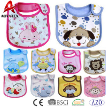 Novo design bordado algodão babadores de bebê impressão de poliéster bebê bonito babar babadores