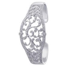 925 bracelete de prata com jóia chapeada de cóstrio CZ para presente