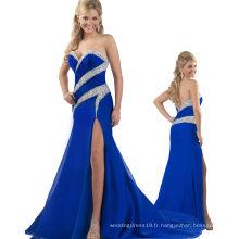 Royal Blue Backless sans bretelles en rotin Robe de soirée Robe de soirée avec Crystal RO11-19