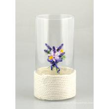 Vase en verre avec corde en coton et belle impression