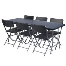6FT Rattan Plastic Folding Table and Chairs Set