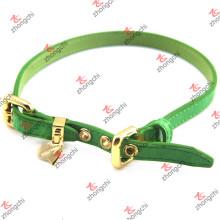 Moda verde couro pet colar com encantos de ouro (pc15121411)