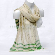 Moda mulheres ponto impresso cachecol de algodão