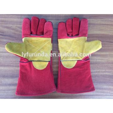 China guantes de soldadura de piel de vaca de 14 pulgadas con palma completa reforzada grado AB
