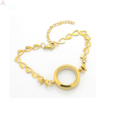 2018 Chine fournisseurs en gros or plaine en acier inoxydable flottant pendentif bracelet